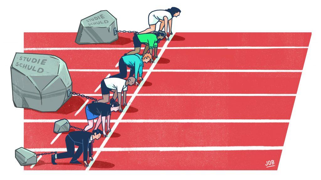 Een tekening van de start van een hardloopwedstrijd waarbij sommige deelnemers een zwaar blok aan hun been hebben hangen, dat symbool staat voor hun studieschuld