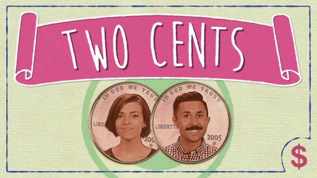 Een afbeelding van Two Cents, een van de fijnste YouTUbe-kanalen over geld, bestaande uit een groen met roze bankbiljet met Julia Lorenz-Olson en Philip Olson