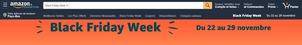 Een screenshot van de homepage van Amazon in Frankrijk, waar het Amerikaanse bedrijf adverteert met het Engelstalige Black Friday Week