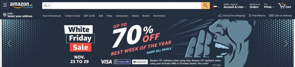 Een screenshot van de homepage van Amazon in de Verenigde Arabische Emiraten, waar het Amerikaanse bedrijf adverteert met White Friday
