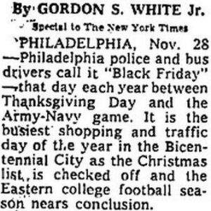 Een krantenbericht over Black Friday in The New York Times uit 1975