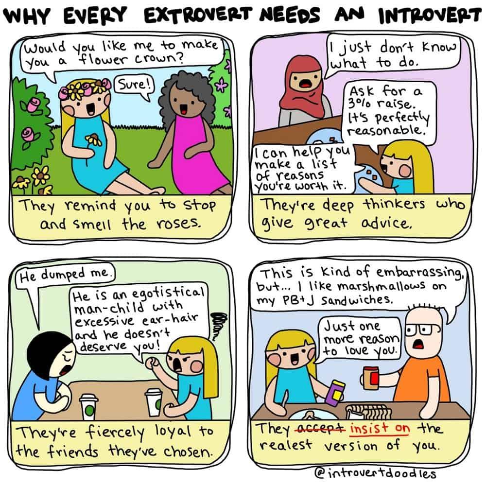 Een strip van Introvert Doodles over waarom elke extravert een introvert nodig heeft