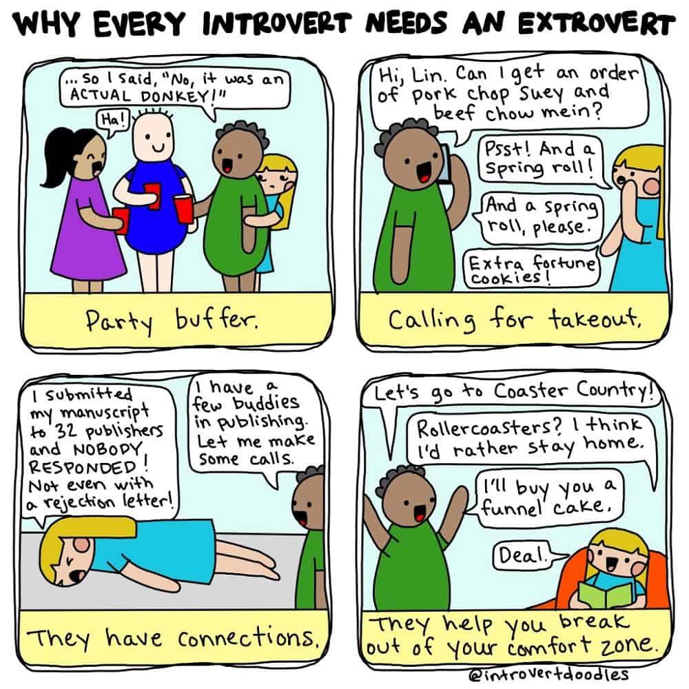 Een strip van Introvert Doodles over waarom elke introvert een extravert nodig heeft