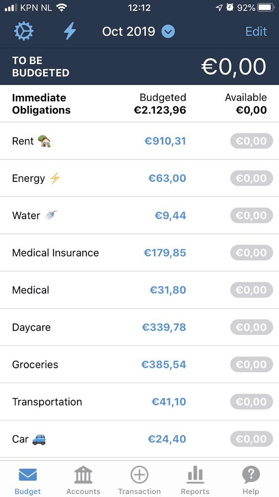 Mijn budget voor oktober 2019 in YNAB