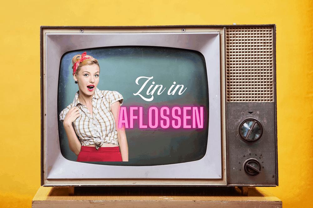 Een ouderwets vintage televisietoestel met een vrouw in retro-look en de tekst Zin in Aflossen, oftewel de nieuwe aflostraining van Fuck Die Studieschuld
