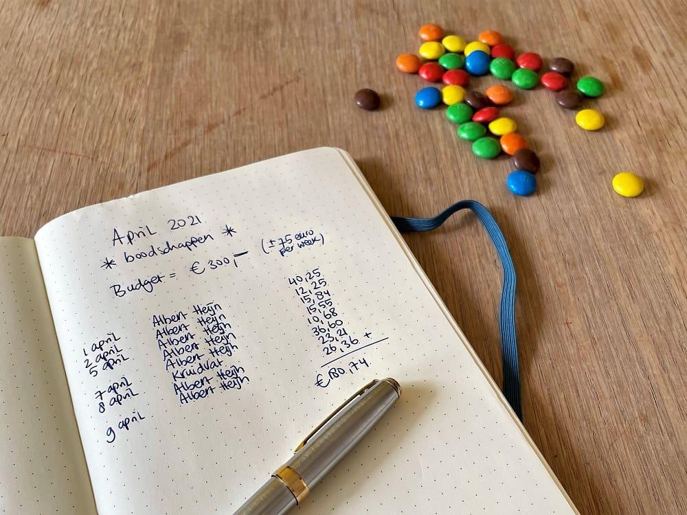 Een notitieboek met m'n uitgaven in de supermarkt, samen ruim 180 euro, oftewel ik heb veel te veel geld uitgegeven in de supermarkt